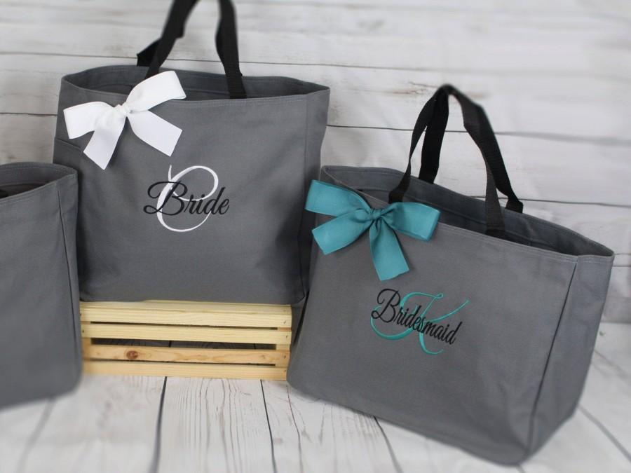 Mariage - Set of 5, Personalized Bridesmaid Gift Tote Bags- Embroidered Tote - Maid of Honor Gift- Mother of the Bride, Mother of the Groom (ESS1)