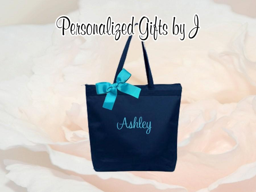 Mariage - Personalized Zippered Tote Bag Bridesmaid Gift Monogrammed Tote, Bridesmaids Tote, Personalized Tote Set of 1, 2, 3, 4, 5, 6, 7, 8 (OSZ1)