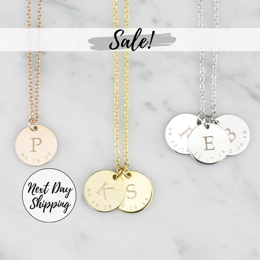 Wedding - Customized Initial Necklace Grandmother Gift Mom Gift Engraved Necklace Gifts for Friends Valentines Day Jewelry for Mom