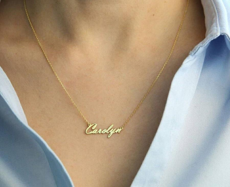 Mariage - 14k Solid Gold-Tiny Name Necklace-Name Necklace-Personalized Necklace-Necklace-Jewelry-Gift-Bridesmaid Gift-Gold Name Necklace-Name Jewelry