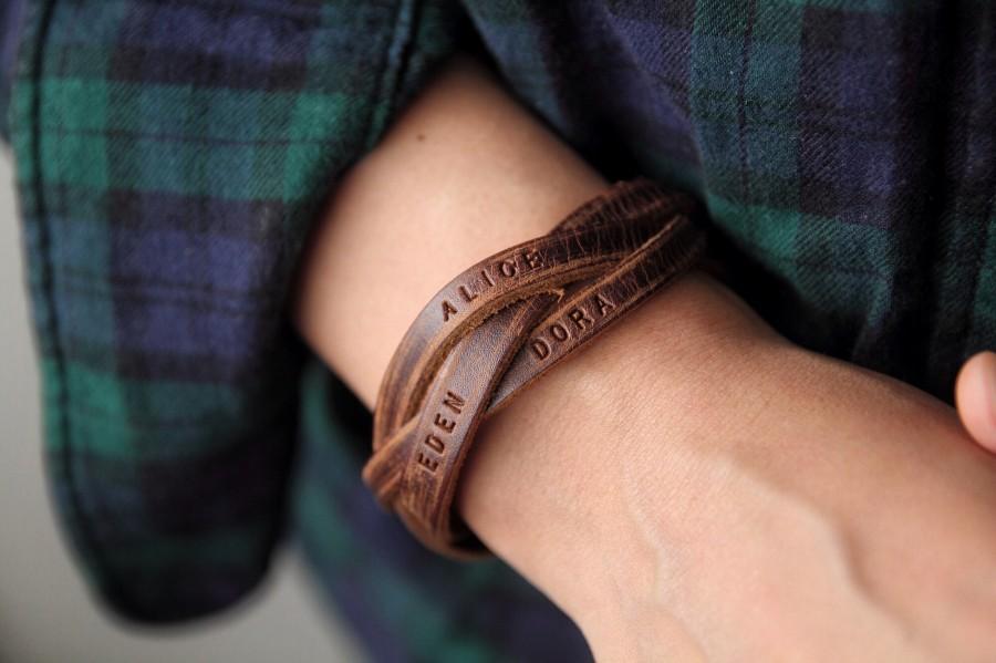 Mariage - Mens bracelet, Names Bracelet,family bracelet,Custom Bracelet,Leather bracelet For Dad,Personalized bracelet,Gift for Boyfriend