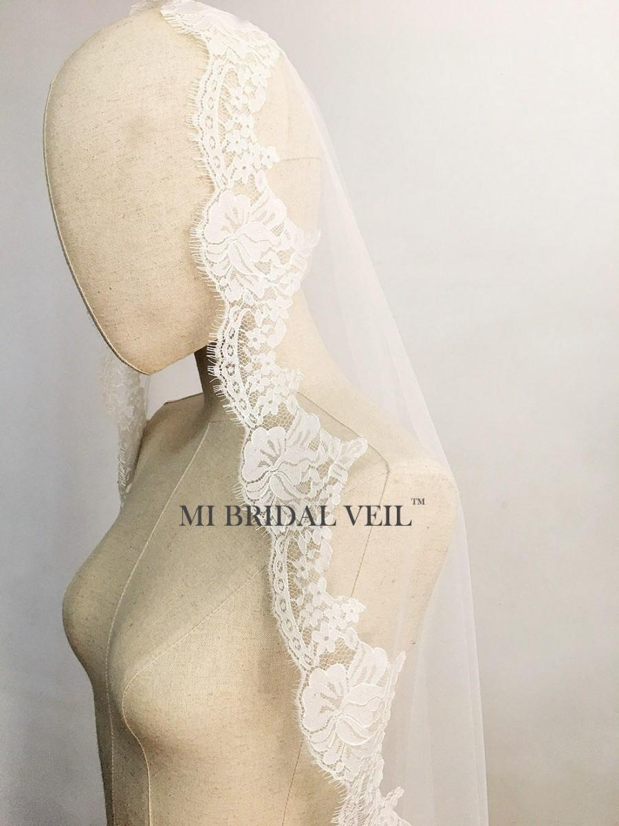 زفاف - Lace Wedding Veil, Chantilly Lace Veil, Rose Lace Birdal Veil, Mantilla Lace Veil, Drop Veil Waltz, Eyelash Lace Veil, Mi Bridal Veil