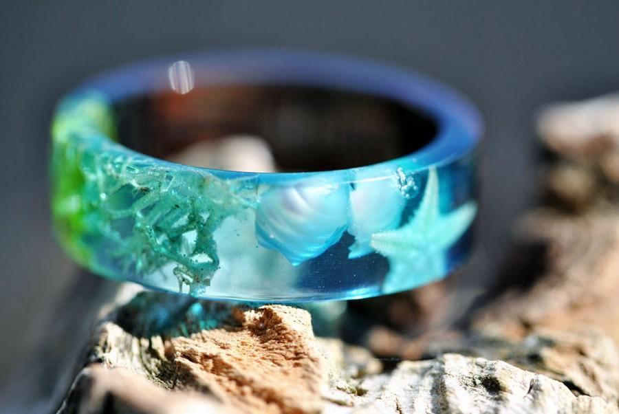Свадьба - Mermaid Ring Ocean Resin ring Blue Resin Ring Algae Ring Summer Ring beachy jewelry  Beachy Jewelry  Beach Ring Real Lichen Ring starfish