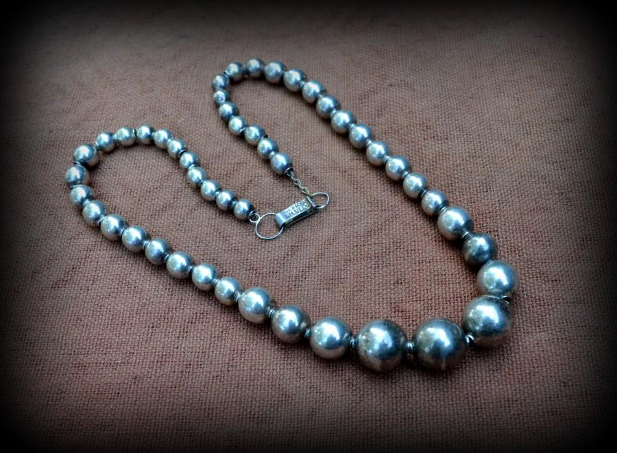 "Mariage - Mexican 925 Sterling Necklace circa 1940 Sterling ""Pearls"" Necklace Choker length sterling necklace~Necklace for her~Sterling Pearls Choker"