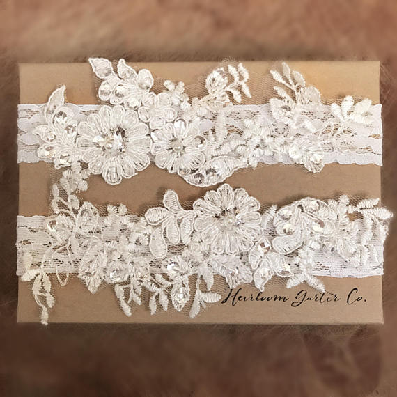 Свадьба - Floral Lace Wedding Garter Set, bridal garter set, vintage rhinestones C16-C16
