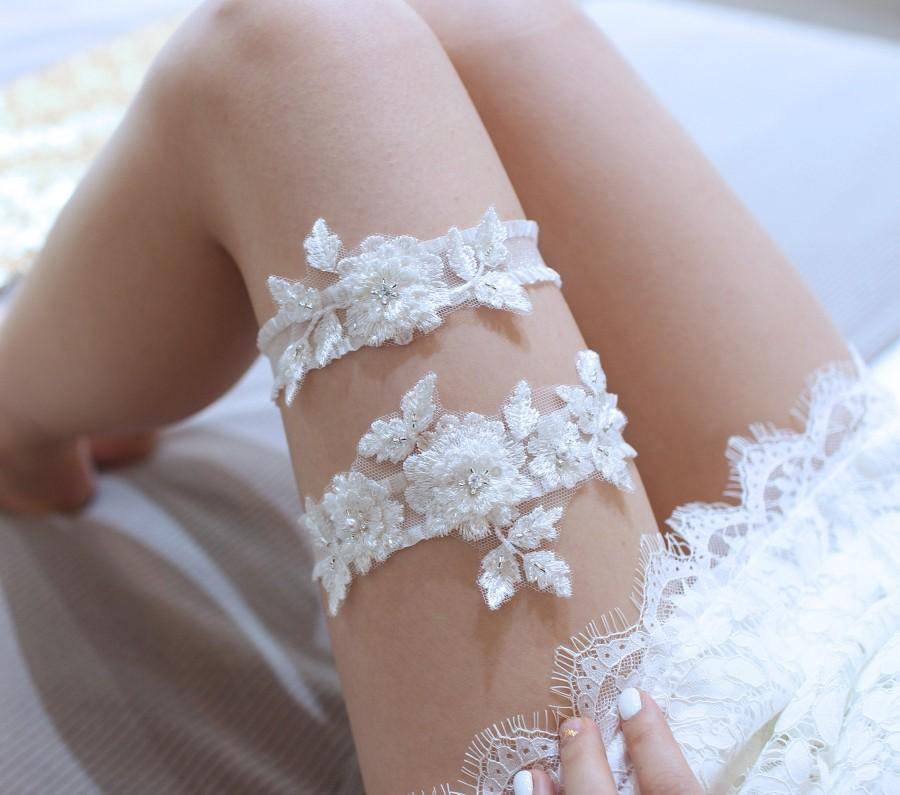 Mariage - Blossom lace garter set, wedding garter set, lace garter set, wedding garter belt, bridal garter set