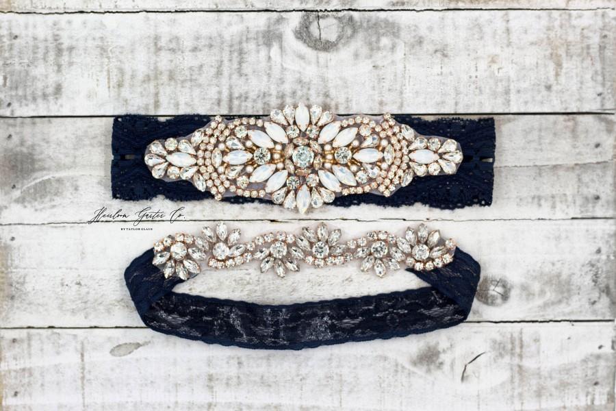 Mariage - Rose gold Bridal Garter, navy garter, NO SLIP Lace Wedding Garter Set, bridal garter set, vintage something blue Navy B18RG-CB05RG