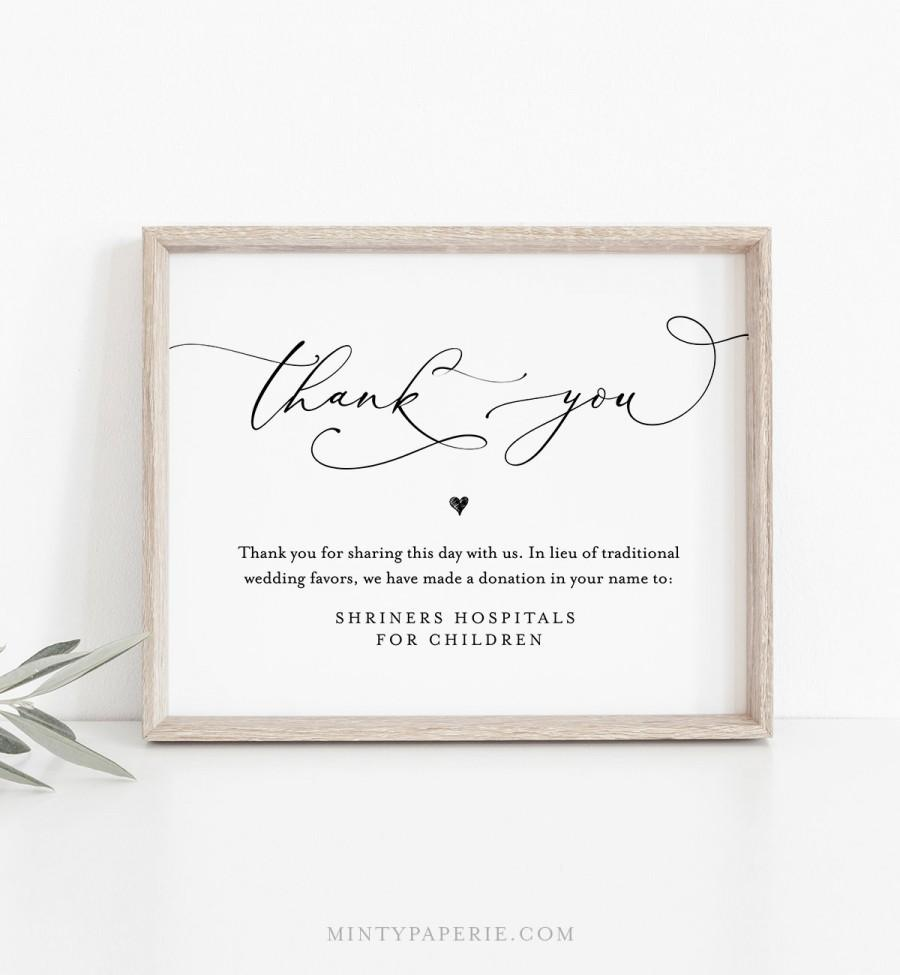 Wedding - In Lieu of Favors Template, INSTANT DOWNLOAD, 100% Editable, Printable Wedding Donation Sign, Thank You, Charity Card, 5x7 & 8x10 #CHM-06