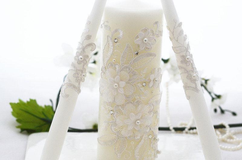 Mariage - Wedding Unity Candles Set, Lace Wedding Candles, Personalized Wedding Candles, Wedding Candle Unity, Unity Candles, 3pcs