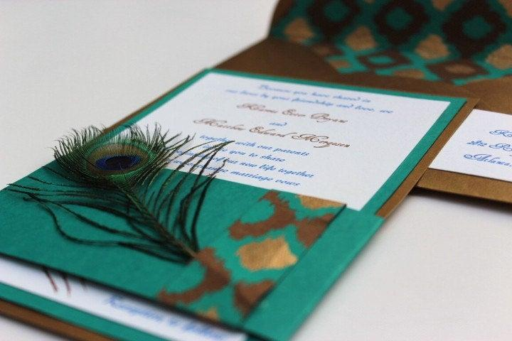 Wedding - Wedding Invitations Peacock Antique Gold Teal Chocolate