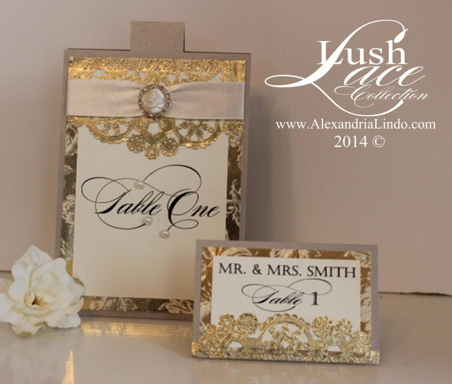 Wedding - Champagne and Gold Table Number with pearls
