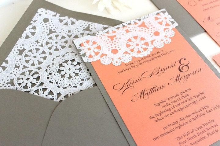 Wedding - Wedding Invitations Lace Vintage Coral and Grey