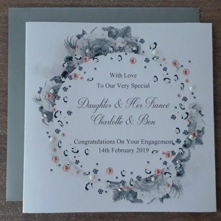 "Wedding - Handmade Personalised 6"" Square Engagement Card"