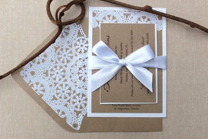 زفاف - Wedding Invitations Lace Vintage Kraft and White