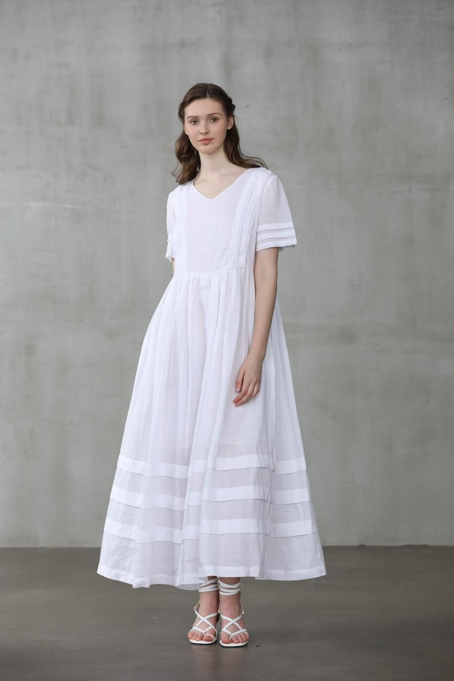 Mariage - white dress, linen dress, wedding dress, maxi dress, sailor dress, bridal dress, plus size dressfull dress, kaftan dress