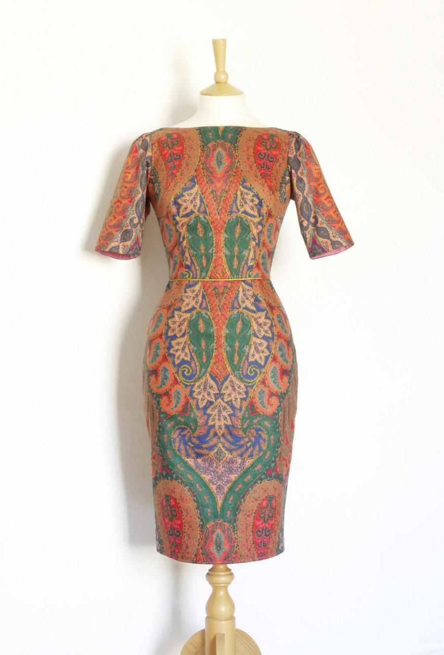 Mariage - Rich Paisley Print Cotton Sabrina Bodice Pencil Skirt Dress - Made by Dig For Victory