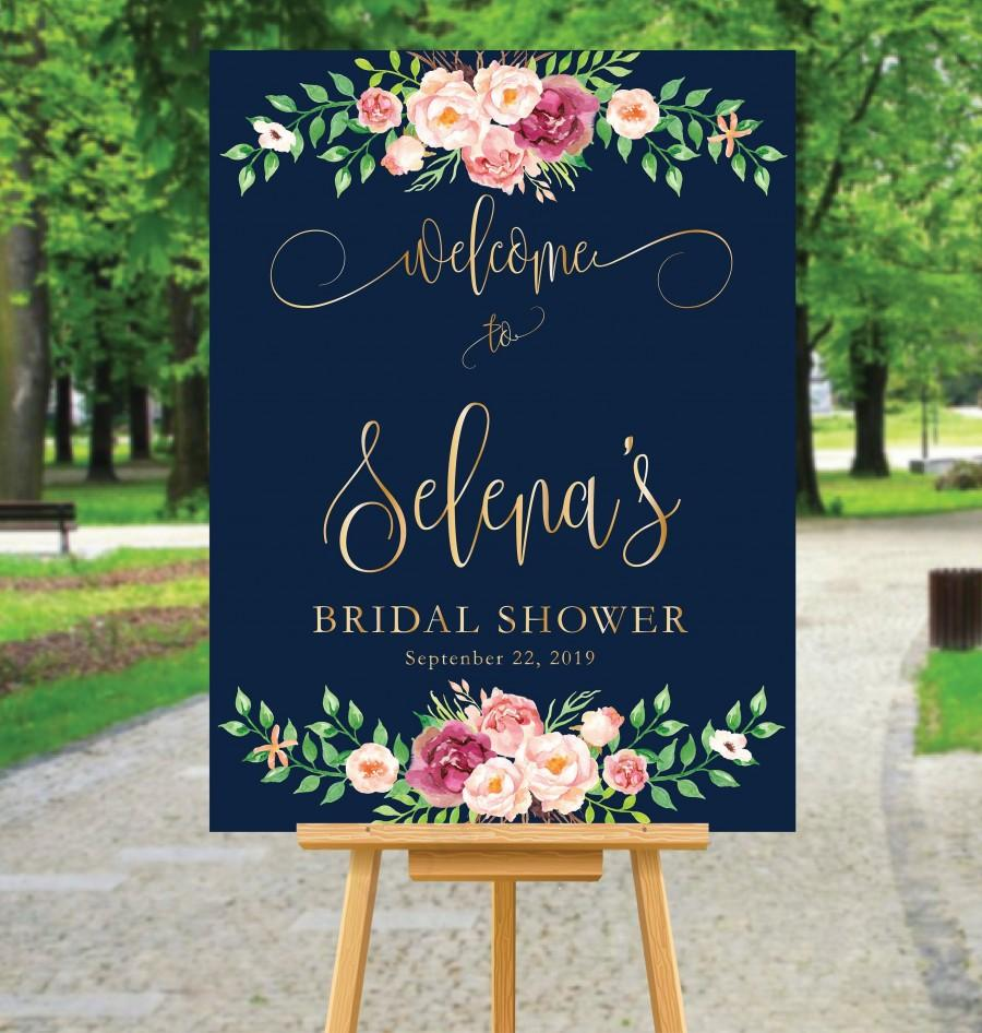 Свадьба - Bridal welcome signs, Shower welcome signs, Navy and Gold Bridal Shower Sign, Bridal shower welcome sign, Wedding welcome sign, BR-20-2