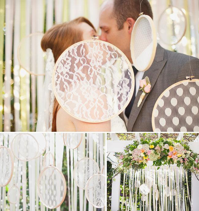 Свадьба - Wedding Decoration hanging lace ribbon circles
