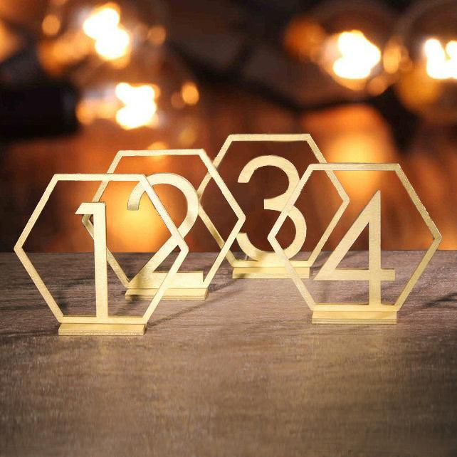 Свадьба - Hexagon Table numbers. Gold table numbers. Wedding table numbers. geometric table number. Rustic signs. Table decoration. Wooden numbers