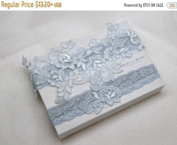 Hochzeit - ON SALE Something blue bridal garter, wedding garter, bride garter, antique blue  lace garter, lace garter, vintage lace garter BL890Gh6