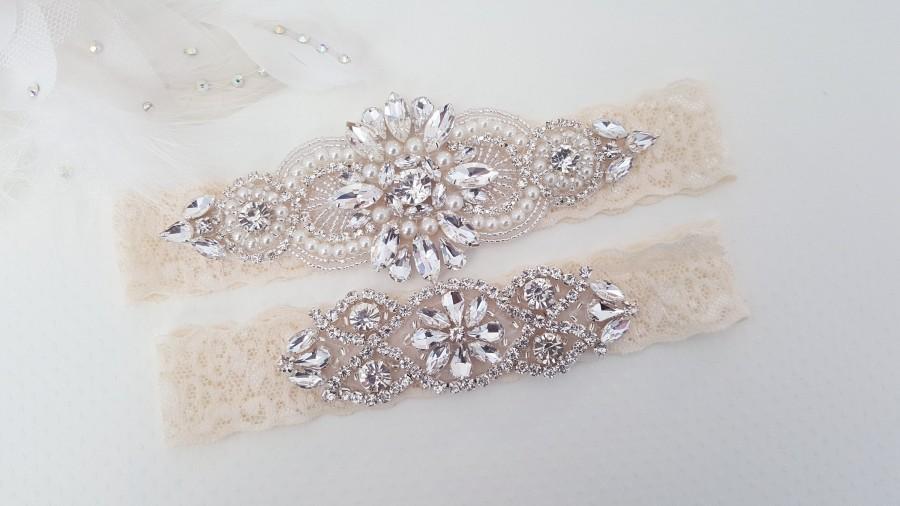 Hochzeit - Wedding Garter Set, Bridal Garter set, Lace Garter set, Crystal Bridal Garter, Silver Wedding Garter, Wedding Garter