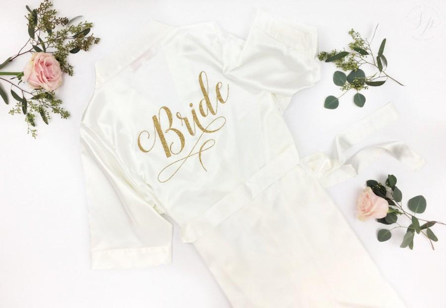 Свадьба - Bride Robe - Wedding Day Robe - Glitter Bridal Robe - Bride Satin  - Lingerie Shower Gift - Bridesmaid Robe -Blush Robe- Maid of Honor Robe