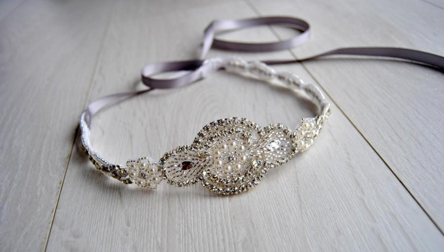 Mariage - Long Bridal Headband Crystal Pearls Rhinestone  Wedding Headband Headpiece, Halo Bridal Flapper 1920s Great Gatsby Headband Headpiece