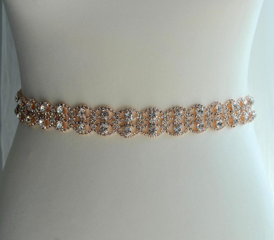 Свадьба - Rose Gold Full Length Thin Dress Sash Belt Wedding dress Bridal Sash Rose Gold Rhinestone Bridal Bridesmaid Sash Belt, Wedding dress sash