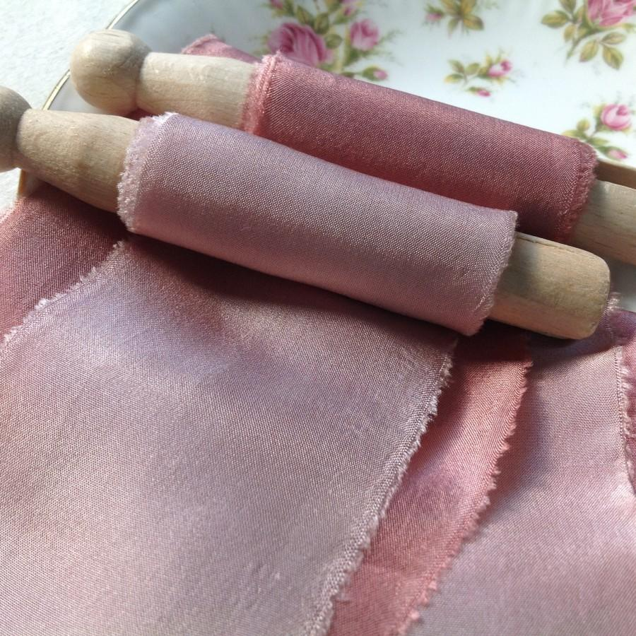 Wedding - Dusky Pink Silk Ribbon, light & dark, Plant Dyed by Hand for bouquets, weddings, invitations, hair styling, embroidery, gifts, photo shoots