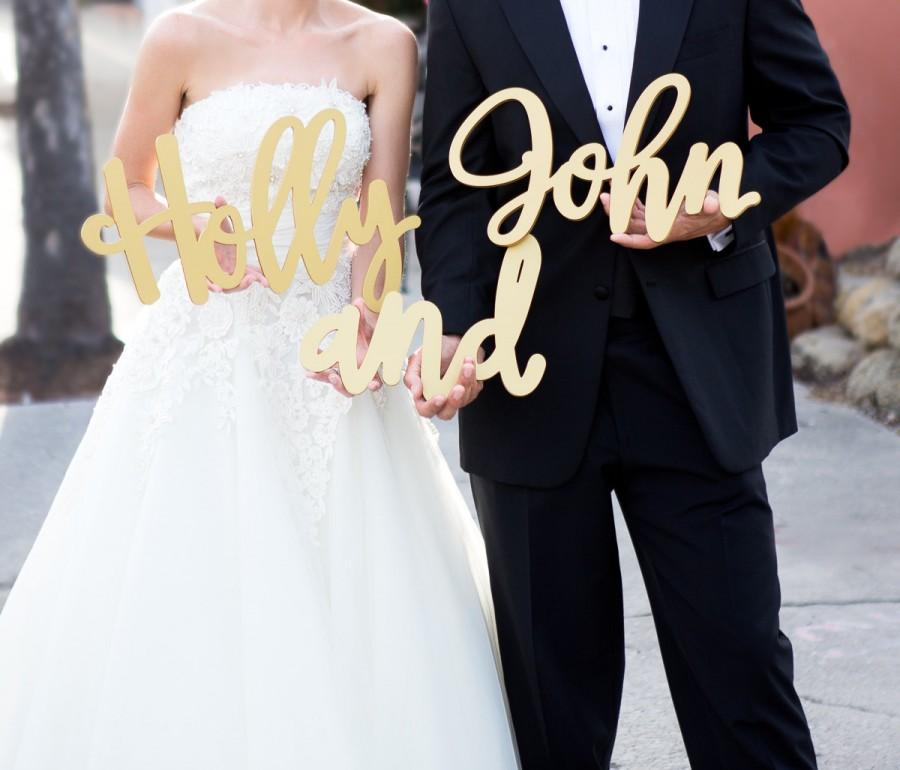 Свадьба - Custom Name Cutouts Signs for Wedding or Decor, 2 Name Signs Personalized Wedding Decorations (Item - PNS500)