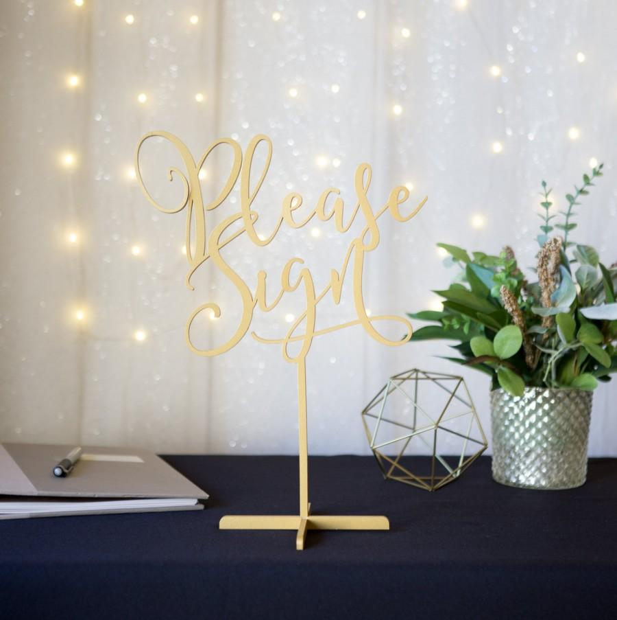 """Свадьба - Wedding Sign Guest Book Table """"Please Sign"""" Standing Wedding Sign Guest Book or Party Table Decor Reception Signs (Item - LPS150)"""