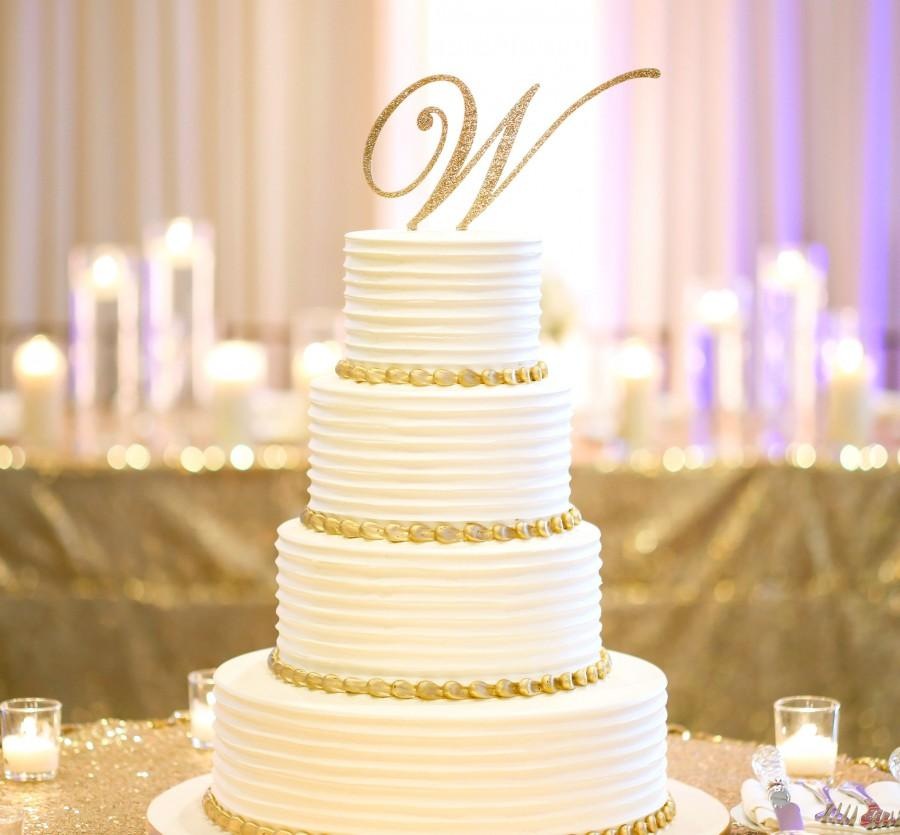 Свадьба - Wedding Cake Topper, Glitter Letter Monogram, Custom Script Letter Cake Topper for Party or Event Wedding Cake Personalized (Item - CTL900)
