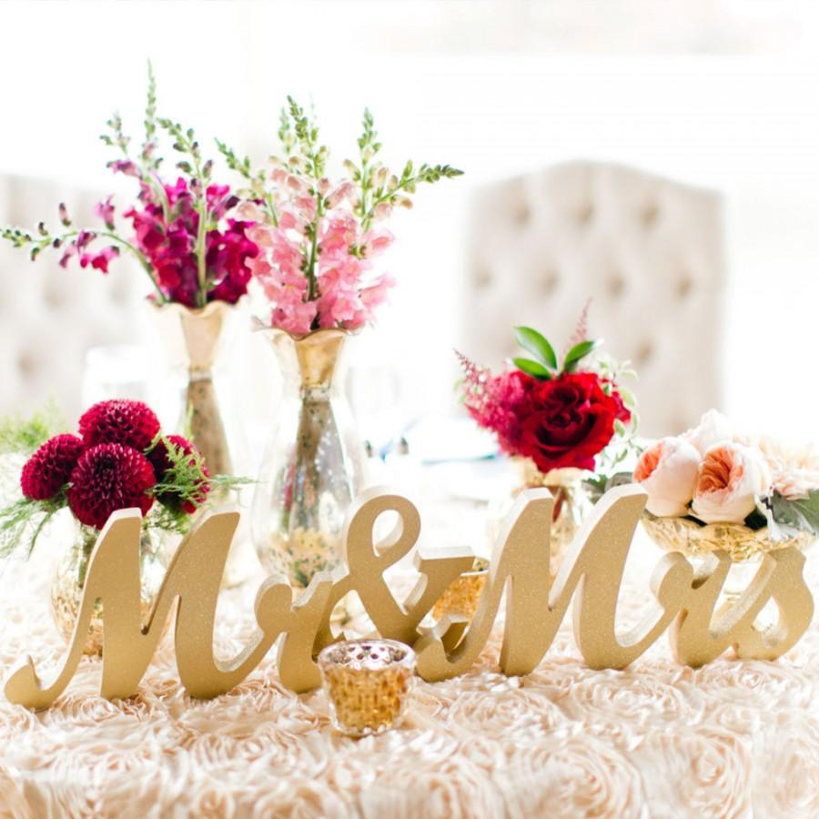 Свадьба - Mr and Mrs Wedding Sign Wedding Centerpiece Sweetheart Table, Mr and Mrs Letters, Large Thick Mr & Mrs Sign Set (Item - MTS100)