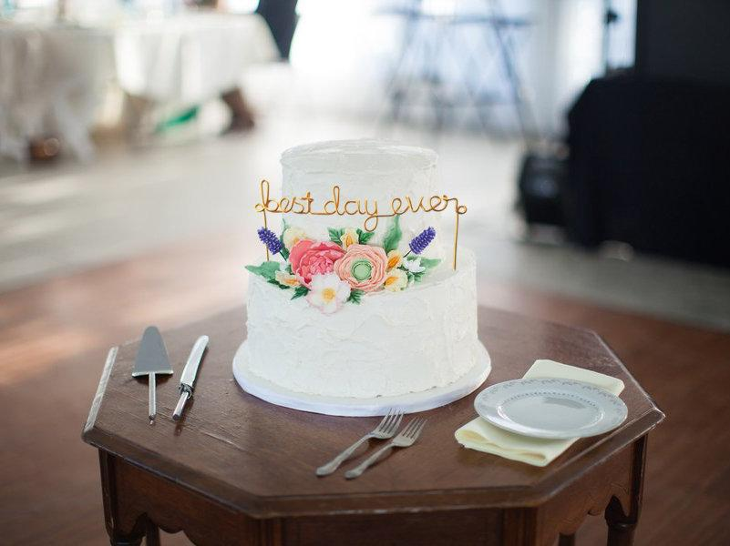 Свадьба - Best Day Ever Wire Wedding Cake Topper Anniversary Rustic Chic Cursive Reusable Metal Industrial Rose Gold Copper Elegant Simple Unique