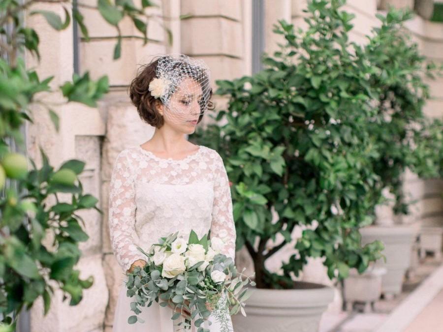 Hochzeit - Bridal Blusher Birdcage Veil with pearls or rhinestones, Bridal Fascinator, Bridal Headpiece, Wedding Hair Accessories, Vintage Wedding