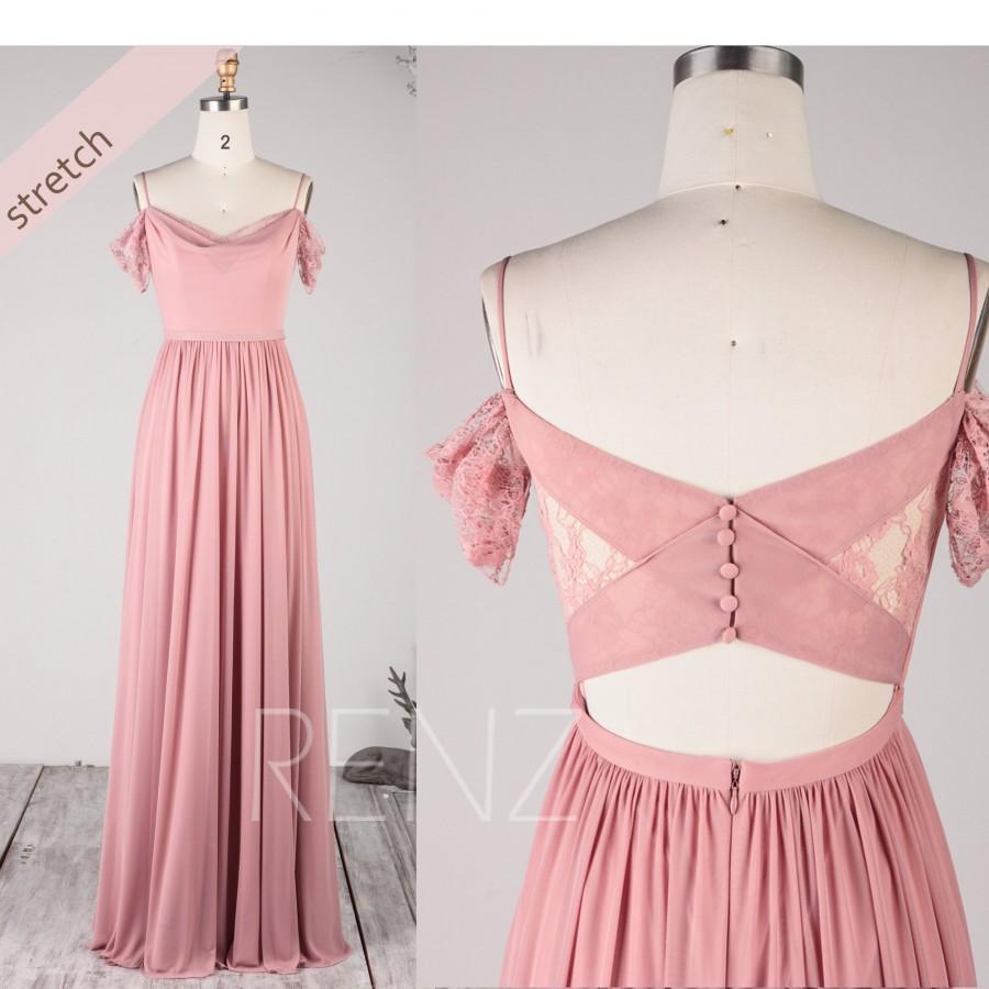Mariage - Off Shoulder Bridesmaid Dress Boho Dusty Rose Wedding Dress Cold Shoulder Stretch Chiffon Prom Dress Long (HZ786)