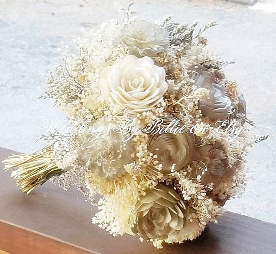 Свадьба - Champagne Ivory Sola Bouquet, Sola Flowers, Burlap Lace, Rustic Wedding, Alternative Bouquet, Bridal Accessories, Keepsake Bouquet, Sola