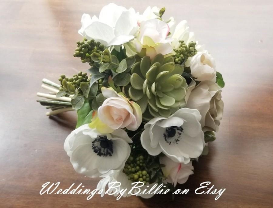 Wedding - Blush Navy Succulent Brides Bouquet, Blush Wedding, Anemone, Blush Alternative Bouquet, Wedding Flowers, Blush Silk Bridal Wedding Bouquet