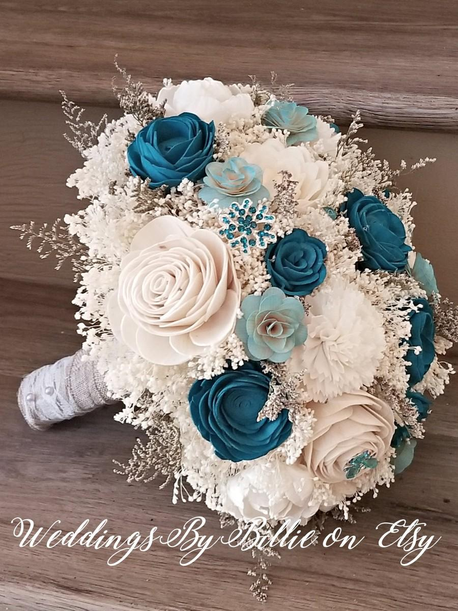 Mariage - Turquoise Teal Sola Flower Bouquet, Sola Flowers, Teal Wedding Flowers,Rustic Shabby Chic, Bridal Accessories,Keepsake Bouquet, Sola Bouquet