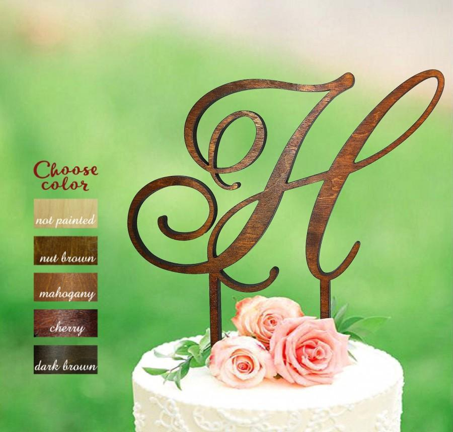 Mariage - h cake topper, letter cake topper, cake topper wedding, initial cake topper, monogram cake topper, rustic cake topper, topper wood h, CT#108