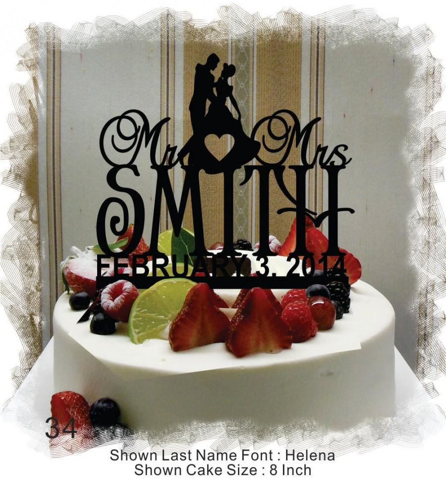 Mariage - Wedding Cake Topper, Cake Topper for Wedding , Customized Wedding Cake Topper, MR & MRS Name Cake Topper , Personalized Cake Topper #34