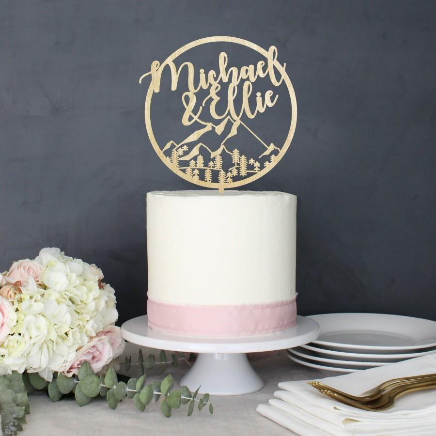 Mariage - Personalized Modern Rustic Mountain Wilderness Wedding Cake Topper