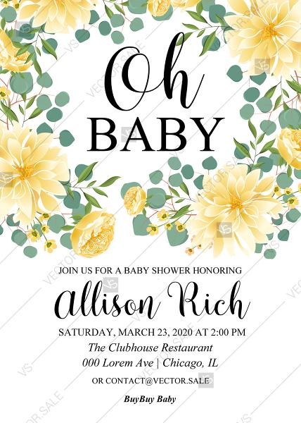 Oh Baby Shower Invitation Dahlia Yellow Chrysanthemum Flower