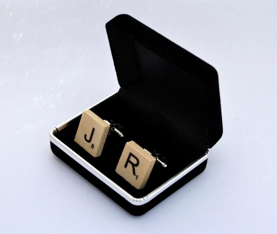 Mariage - Wooden Scrabble Cufflinks Wooden Scrabble Tile Cuff Links Wooden