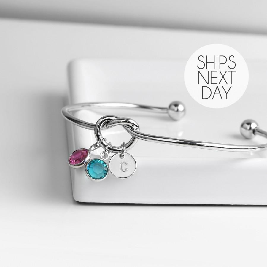 Mariage - Family Birthstones Tie the Knot Bracelet Gift for Her Unique Gift Birth Stone Mothers Day Jewelry Wedding Popular Jewelry - KBR-TCBS-S