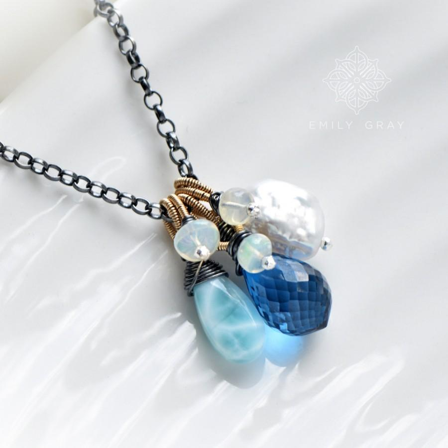 Hochzeit - Long Gemstone Pendant Necklace in Oxidised Silver and Gold with London Blue Topaz, Larimar, Keishi Pearl, Ethiopian Opal - Emily Gray OOAK