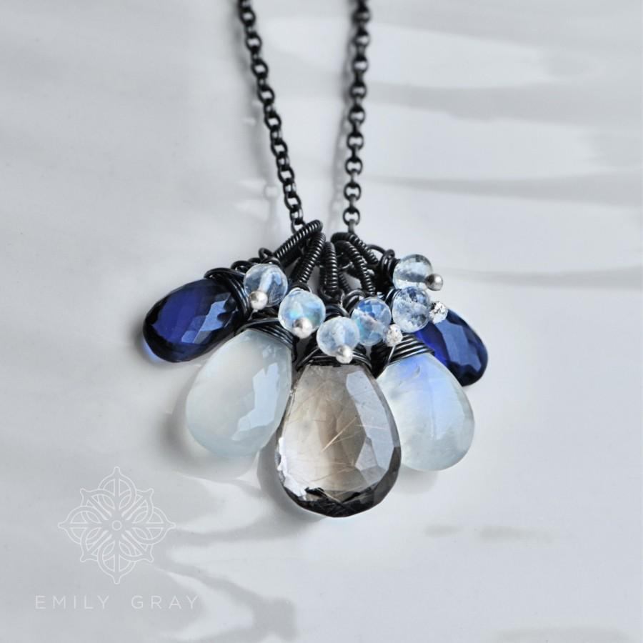 Свадьба - Unique Wire Wrapped Pendant Necklace in Oxidised Silver with Gold Rutilated Quartz, Moonstone and Indigo Iolite by Emily Gray for Blissaria