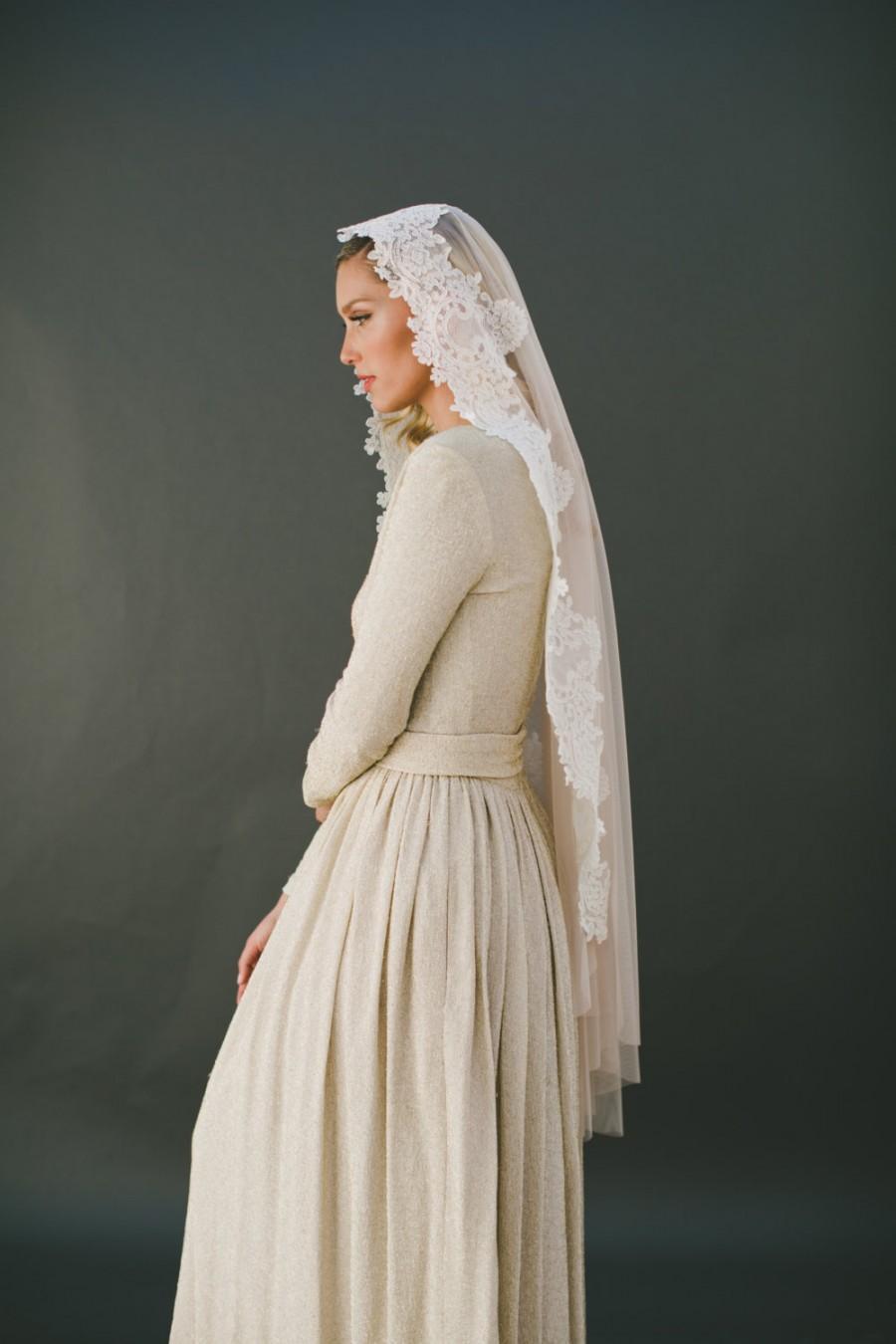 Mariage - Mantilla Veil, Mantilla Wedding Veil, Fingertip Lace Veil, English Net Veil, Soft Wedding Veil, Lace Bridal Veil, Partial Lace Veil 1574