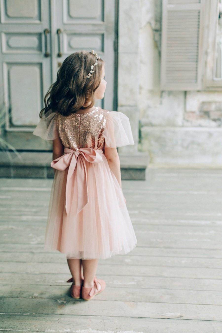 Hochzeit - Sequin flower girl dress, Blush Flower girl dress, Gold flower girl dress, girl dress tulle
