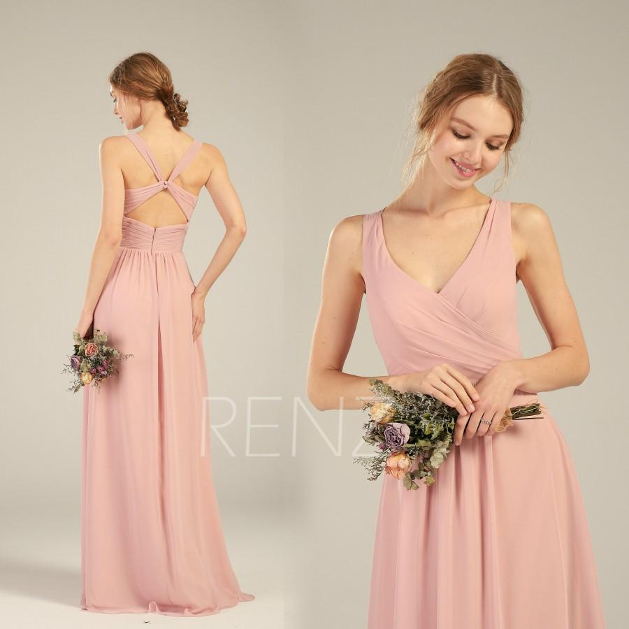 Hochzeit - Bridesmaid Dress Blush Long Chiffon Prom Dress for Women Ruched V Neck A-line Party Dress (H757)